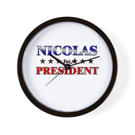 NICOLAS for president Wall Clock