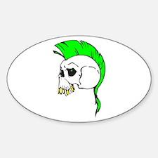 Green Mohawk Punk Skull Oval Decal