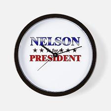 NELSON for president Wall Clock