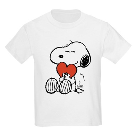 CafePress Snoopy Hugs Heart Kids Light T-Shirt