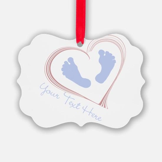 Your Text Here Baby Feet in Heart Ornament