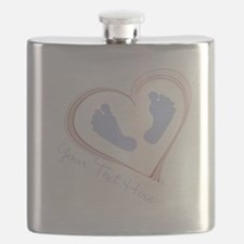 Your Text Here Baby Feet in Heart Flask