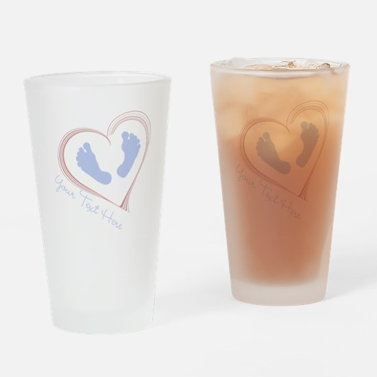 Your Text Here Baby Feet in Heart Drinking Glass