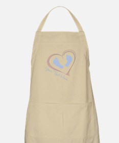 Your Text Here Baby Feet in Heart Apron
