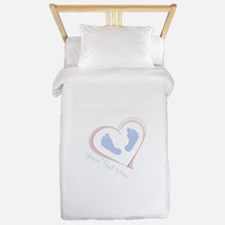 Your Text Here Baby Feet in Heart Twin Duvet