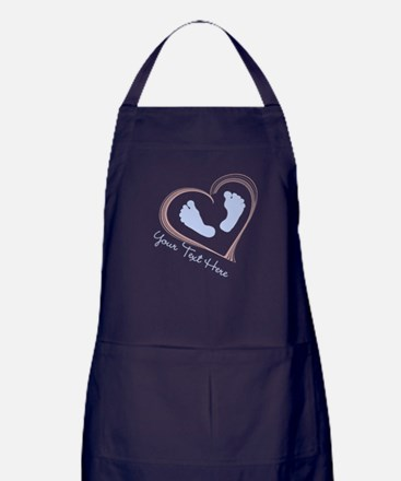 Your Text Here Baby Feet in Heart Apron (dark)