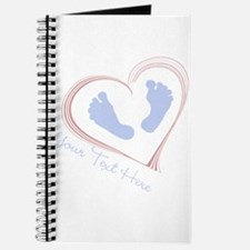 Your Text Here Baby Feet in Heart Journal