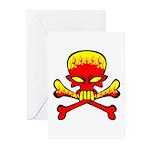 Flaming Skull & Crossbones Greeting Cards (Pk of 2