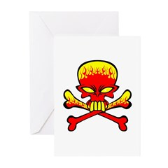 Flaming Skull & Crossbones Greeting Cards (Pk of 1