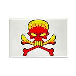 Flaming Skull & Crossbones Rectangle Magnet (100 p
