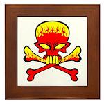 Flaming Skull & Crossbones Framed Tile