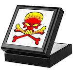 Flaming Skull & Crossbones Keepsake Box