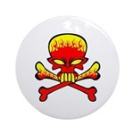 Flaming Skull & Crossbones Ornament (Round)