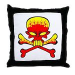 Flaming Skull & Crossbones Throw Pillow