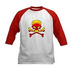 Flaming Skull & Crossbones Kids Baseball Jersey