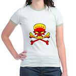 Flaming Skull & Crossbones Jr. Ringer T-Shirt