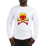 Flaming Skull & Crossbones Long Sleeve T-Shirt