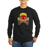 Flaming Skull & Crossbones Long Sleeve Dark T-Shir