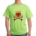 Flaming Skull & Crossbones Green T-Shirt