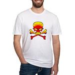Flaming Skull & Crossbones Fitted T-Shirt