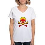 Flaming Skull & Crossbones Women's V-Neck T-Shirt
