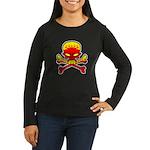 Flaming Skull & Crossbones Women's Long Sleeve Dar