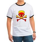Flaming Skull & Crossbones Ringer T