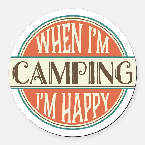 happy camper Round Car Magnet