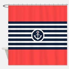 White & Navy Blue Stripes With Boat Shower Curtain