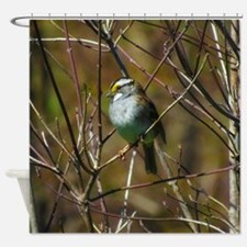 white throated sparrow Shower Curtain