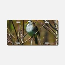 white throated sparrow Aluminum License Plate