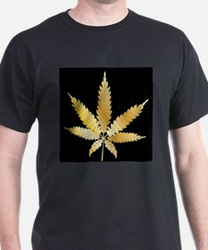 Gold Cannabis Leaf T-Shirt