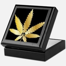 Gold Cannabis Leaf Keepsake Box