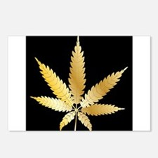 Gold Cannabis Leaf Postcards (Package of 8)