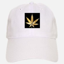 Gold Cannabis Leaf Baseball Baseball Cap