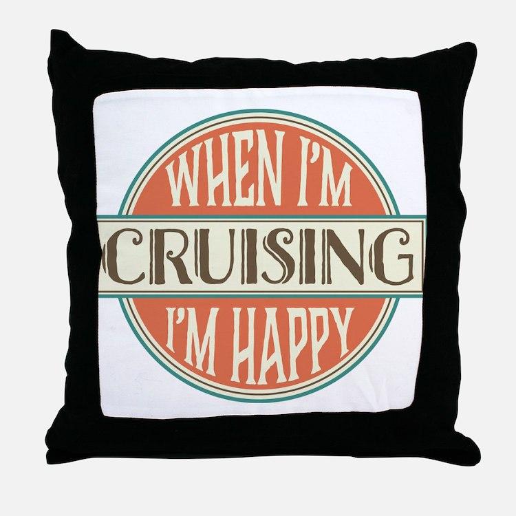 happy cruiser Throw Pillow