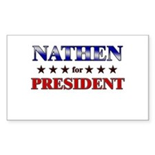 NATHEN for president Rectangle Decal