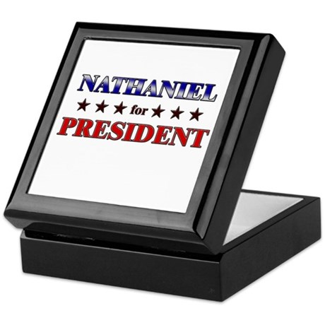 NATHANIEL for president Keepsake Box