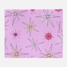 Pink Atomic Era Art Throw Blanket