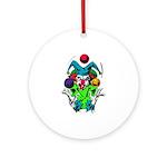 Evil Juggling Jester Clown Ornament (Round)