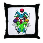 Evil Juggling Jester Clown Throw Pillow