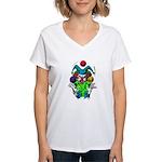 Evil Juggling Jester Clown Women's V-Neck T-Shirt