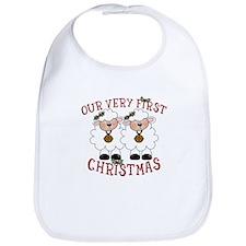 First Christmas Twin Lambs Bib