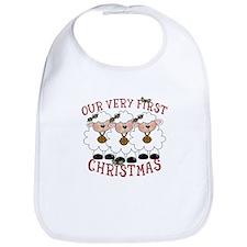 First Christmas Triplet Lambs Bib
