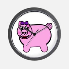 Girly Stuffed Pig Wall Clock