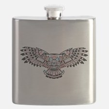 Mystic Owl in Native American Style Flask