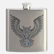 Owl Tattoo: Blue Flask