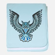 Owl Tattoo: Blue baby blanket