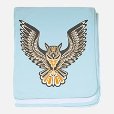 Owl Tattoo: Orange baby blanket