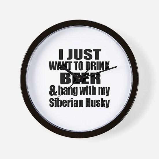 Hang With My Siberian Husky Wall Clock